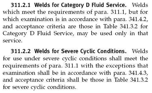 Fluid service category according to process piping B31 3